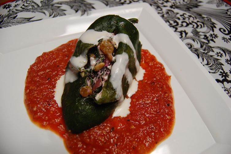 Poblanos Stuffed with Goat Cheese and Greens