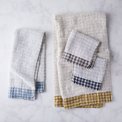 Gingham Cotton & Linen Bath Towels