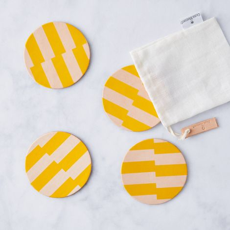 Yellow Stripe Leather Coasters (Set of 4)