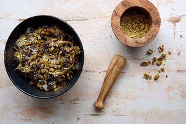 Pesto Linguine w/mushrooms & Pistachio