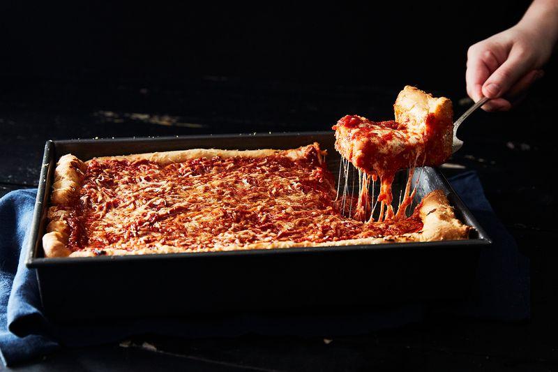 Deep Dish Tomato and Mozzarella Pizza