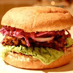 Sweet Potato and Pumpkin Seed Burgers with Purple Slaw