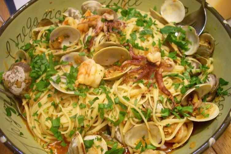 Linguini with Chorizo, Clams, Shrimp and Calamari Recipe on Food52
