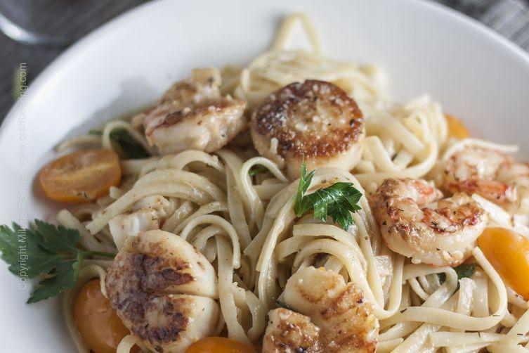 Creamy & Citrusy Seafood Linguine