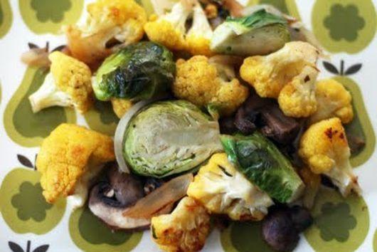 Cauliflower, Brussels Sprouts & Crimini Sauté