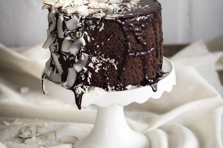 Dark Chocolate and Coconut Ganache Cake