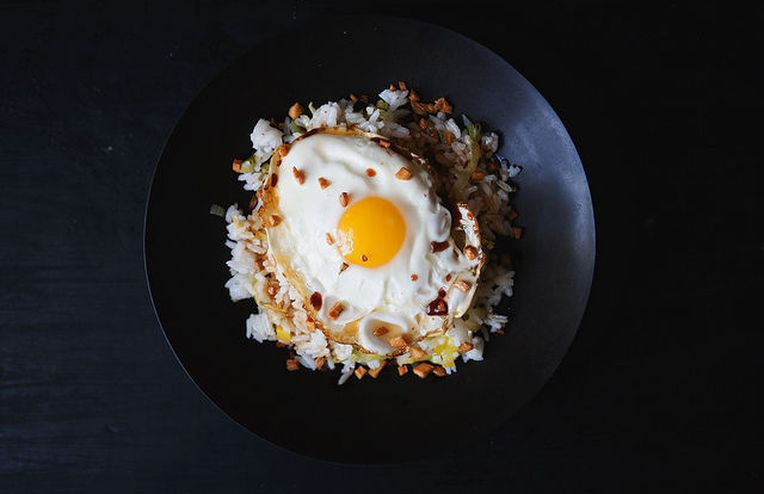Jean-Georges' Ginger Fried Rice + Ice Cream with Miso-Caramel Sauce