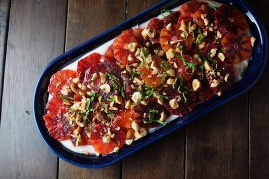 Blood Orange Salad with Yogurt, Hazelnuts, and Honey