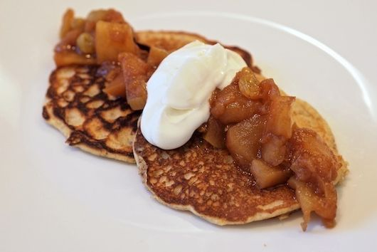 Oat and Flax Pancakes with Spiced Apple Compote