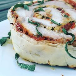 Apple, Sage, Sun-dried Tomato Pork Loin Roulade Wellington