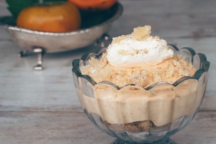 Persimmon mousse with cardamom crumble
