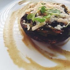 Spinah stuffed Portobello Mushroom w/garlic au jus