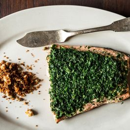 Aromatic Poached Salmon with Rye and Caper Breadcrumbs