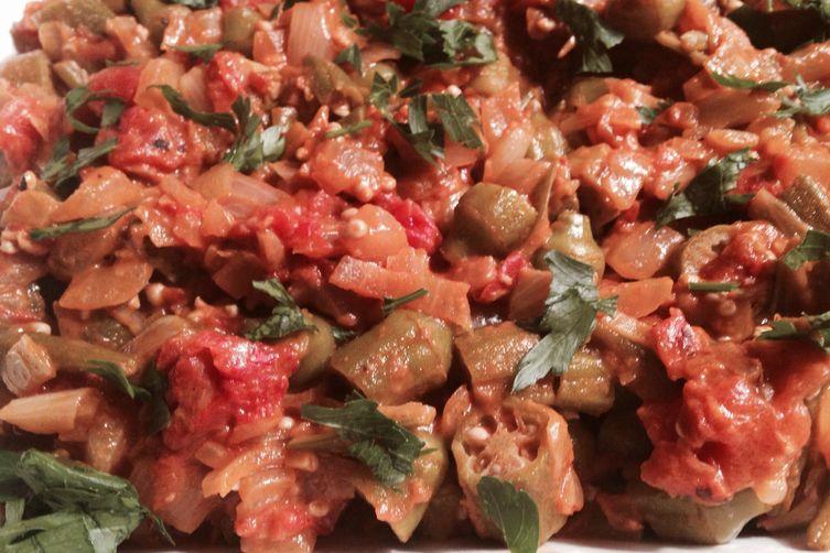 Savory Smoky Okra Tomato Ratatouille with Drizzles of Honey