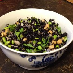 Black rice and chickpea salad