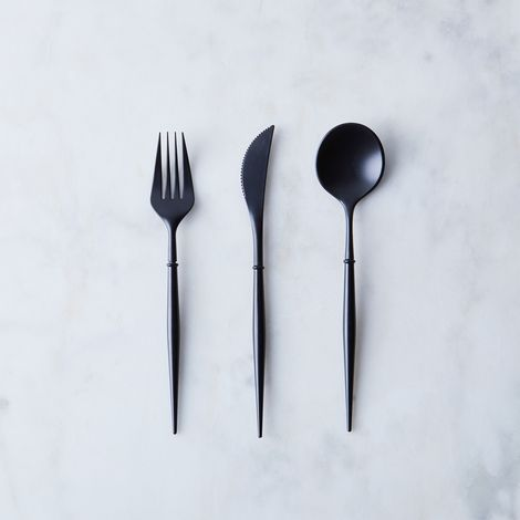 Bella Black Reusable Flatware (48-Pack)