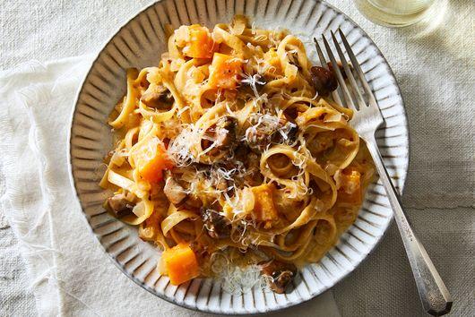 Fettuccine Alfredo With Butternut Squash & Mushrooms