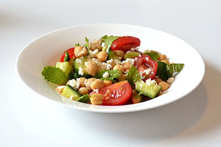 Light & Lemony Chickpea Salad with Fresh Mint and Feta