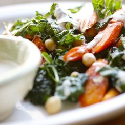 lacinato kale with roasted carrots, chickpeas + spiced tahini dressing