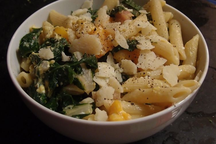 Penne with Swiss Chard, Yellow Tomatoes and Parmesan