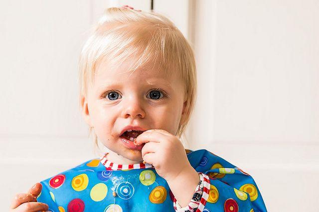 Clara eating meatballs