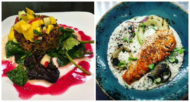 Left: Quinoa patty with mango chutney and blueberry vinaigrette at the Castle Creek Cafe; Right: Salmon, coconut grits, burnt onion, and togarashi