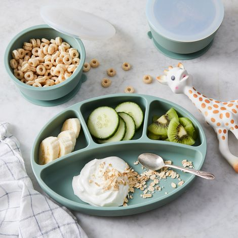 Kids' Divided Dinner Plates and Bowls with Suction