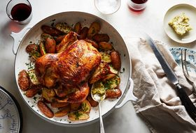 D823688e 6b02 48a0 afe7 d54084528257  2018 0301 buttermilk brined roast chicken with potatoes and cornichon butter 3x2 bobbi lin 7022