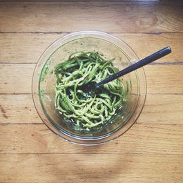 Avocado, basil, and kale pesto, with spinach pasta