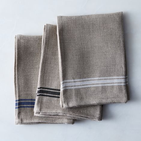 Oatmeal Linen Border Stripe Tea Towels (Set of 4)