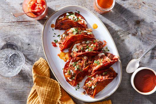 Birria De Res Tacos With Queso Oaxaca From Salvador Alamilla