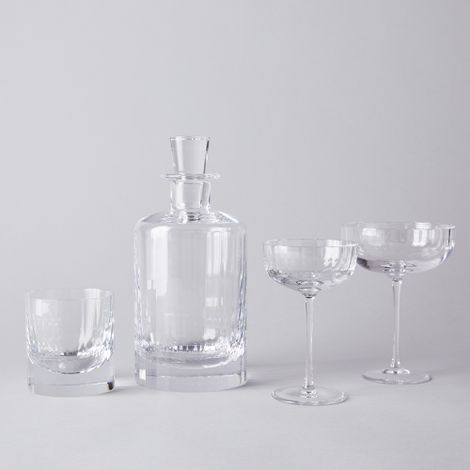 Fluted Crystal Cocktail Glasses & Decanter