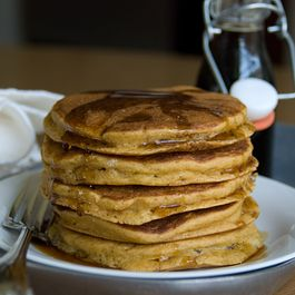 Mango Pancakes with Ginger-Maple Syrup