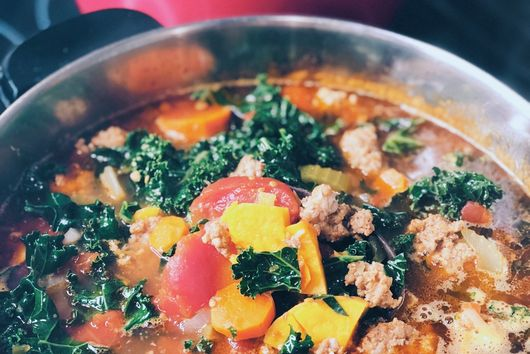 Chorizo, Kale, Sweet Potato Soup