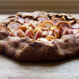 Peach, honey and rosemary galette