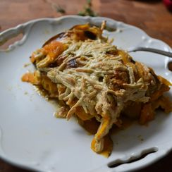 Sweet Potato, Tahini & Swiss Chard Gratin