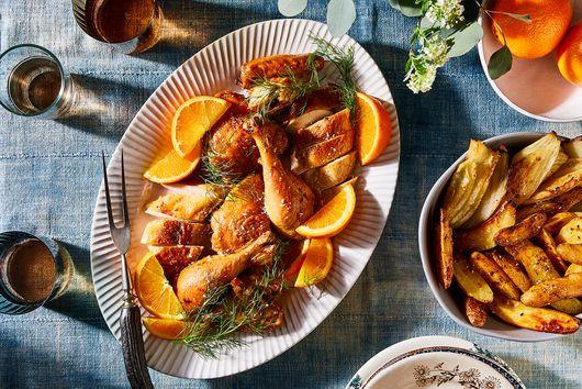 Navel Orange-Marinated Chicken With Crispy Potatoes & Fennel