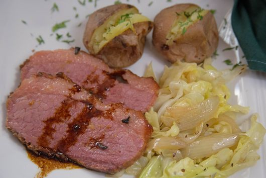 Baked Corned Beef with Sauteed Cabbage and Baked New Potatoes