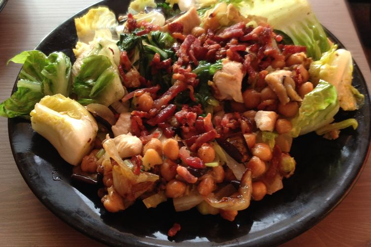 Roasted Eggplant, Chickpea, Onion Salad with Chicken and Crispy Bacon