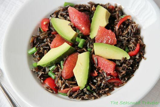 Wild Rice Salad with Green Beans, Cherry Tomatoes, Avocado & Grapefruit