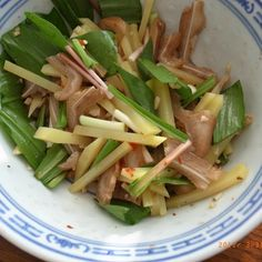 pig ear and potato salad with ramps