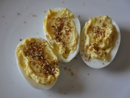 Hard Cooked Eggs, Lime Aioli and Dukkah