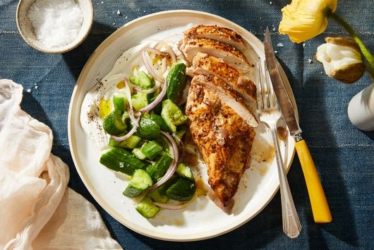 Sumac Chicken With Yogurty Cucumber Salad