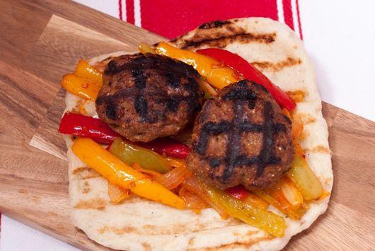 Smoky Turkey Fennel Sausage with Peppers on Grilled Flatbread
