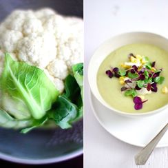 Cauliflower Soup with Garlic Scapes!