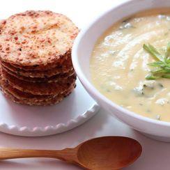 Kale & Potato Soup with Asiago Cheese Thins