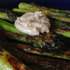 Griddled Asparagus + Preserved Lemon Tahini Sauce