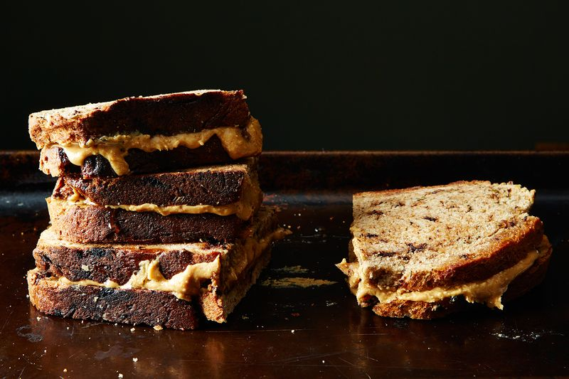 Toasted Peanut Butter and Honey Sandwich on Rosemary Chocolate Bread