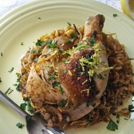 "Egyptian ""Koshari"" inspired one-pot chicken with pasta and lentils"