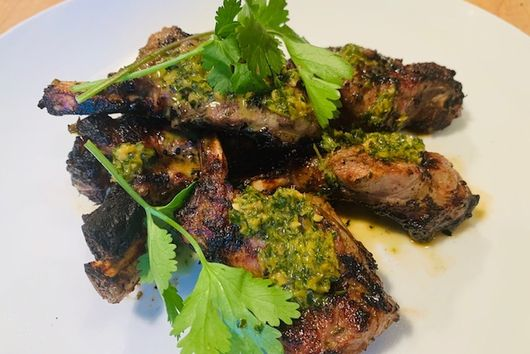 Lovely lamb with cilantro, mint and honey